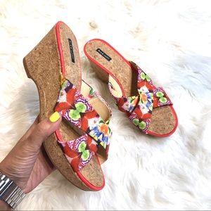 Alex Marie Floral Cork Wedges Size 9.5